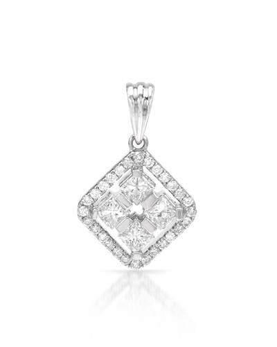 Brand New Pendant with 1.08ctw of Precious Stones - diamond and diamond 18K White gold