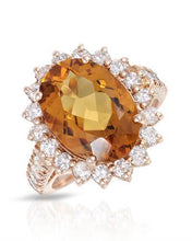 Load image into Gallery viewer, Lundstrom Brand New Ring with 6.71ctw of Precious Stones - citrine and diamond 14K Rose gold