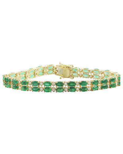 11.78  Carat Emerald 14K Yellow Gold Diamond Bracelet