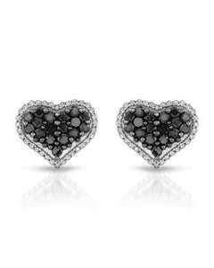 Brand New Earring with 1.02ctw of Precious Stones - diamond and diamond 10K White gold
