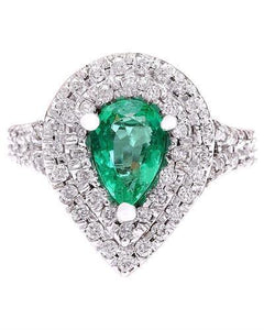 2.70 Carat Natural Emerald 14K Solid White Gold Diamond Ring