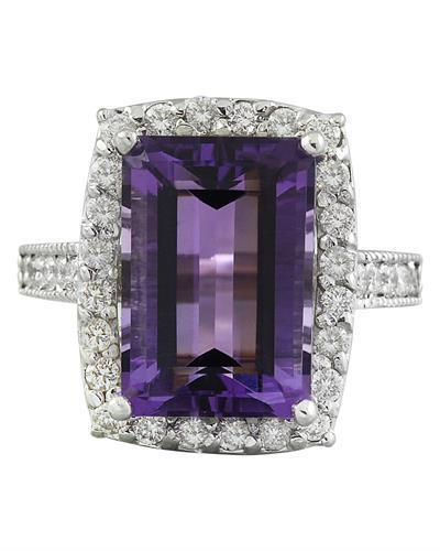 7.09 Carat Amethyst 14K White Gold Diamond Ring