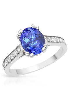 Brand New Ring with 1.65ctw of Precious Stones - diamond and tanzanite 14K White gold