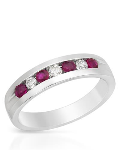 Brand New Ring with 1.2ctw of Precious Stones - diamond and ruby 14K White gold