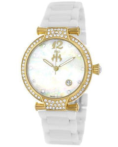 Jivago JV2217 Bijoux Brand New Swiss Quartz date Watch with 0ctw of Precious Stones - crystal and mother of pearl