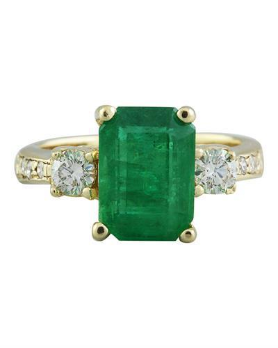4.50 Carat Emerald 14K Yellow Gold Diamond Ring