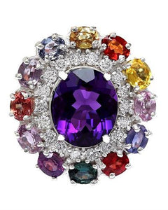 12.10 Carat Natural Amethyst, Sapphire 14K Solid White Gold Diamond Ring