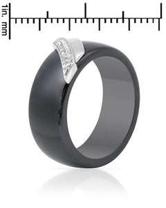 Lundstrom Brand New Ring with 0.08ctw diamond  Black ceramic and 14K White gold