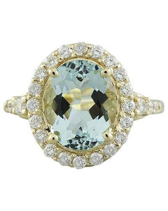 3.81 Carat Aquamarine 14K Yellow Gold Diamond Ring
