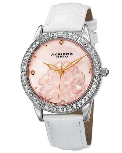 Akribos XXIV AK805SS Brand New Japan Quartz Watch with 0ctw of Precious Stones - crystal and mother of pearl