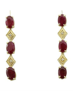2.65 Carat Ruby 14K Yellow Gold Diamond Earrings