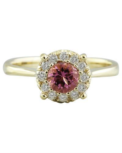 0.72 Carat Tourmaline 14K Yellow Gold Diamond Ring