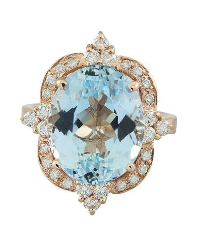 8.25 Carat Aquamarine 14K Rose Gold Diamond Ring