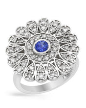 Load image into Gallery viewer, Brand New Ring with 1.3ctw of Precious Stones - diamond and sapphire 14K White gold