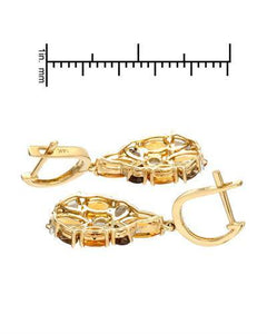Brand New Earring with 3.86ctw of Precious Stones - citrine, diamond, and topaz 14K Yellow gold
