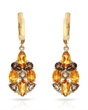 Load image into Gallery viewer, Brand New Earring with 3.86ctw of Precious Stones - citrine, diamond, and topaz 14K Yellow gold