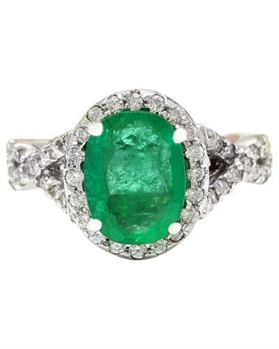 3.29 Carat Natural Emerald 14K Solid White Gold Diamond Ring