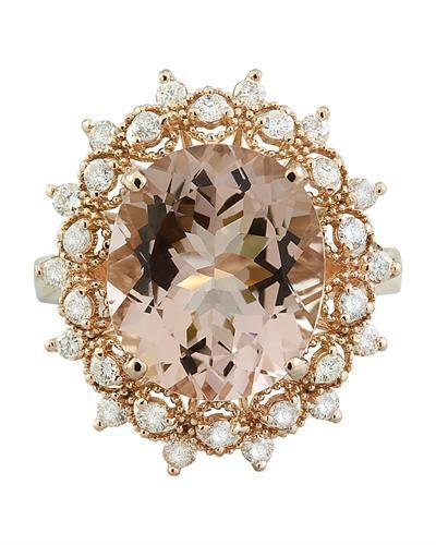 6.01 Carat Morganite 14K Rose Gold Diamond Gold Ring