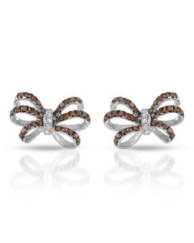 Brand New Earring with 0.45ctw of Precious Stones - diamond and diamond 10K White gold