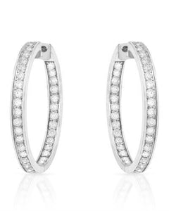 Brand New Earring with 2.11ctw diamond 14K White gold