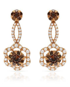 Brand New Earring with 1.54ctw of Precious Stones - diamond and diamond 18K Rose gold