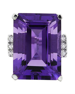 30.25 Carat Amethyst 14K White Gold Diamond Ring