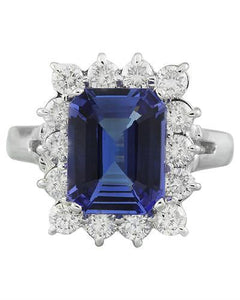 5.06 Carat Tanzanite 14K White Gold Diamond Ring