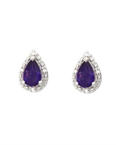 Brand New Earring with 0.72ctw of Precious Stones - amethyst and diamond 925 Silver sterling silver
