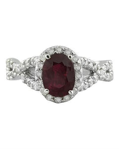 2.23 Carat Ruby 14K White Gold Diamond Ring
