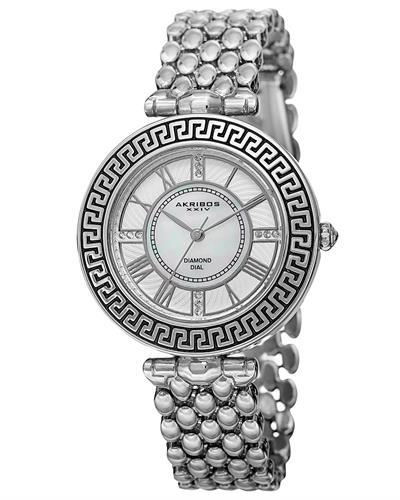 Akribos XXIV AK808SS Brand New Quartz Watch with 0.06ctw of Precious Stones - diamond and mother of pearl