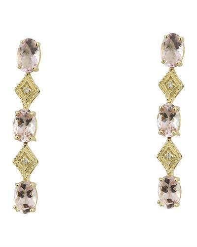 2.65 Carat Morganite 14K Yellow Gold Diamond Earrings