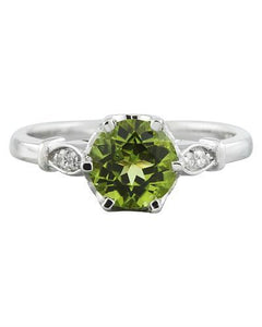 1.50 Carat Peridot 14K White Gold Diamond Ring