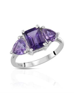 Brand New Ring with 3ctw of Precious Stones - amethyst and amethyst 925 Silver sterling silver