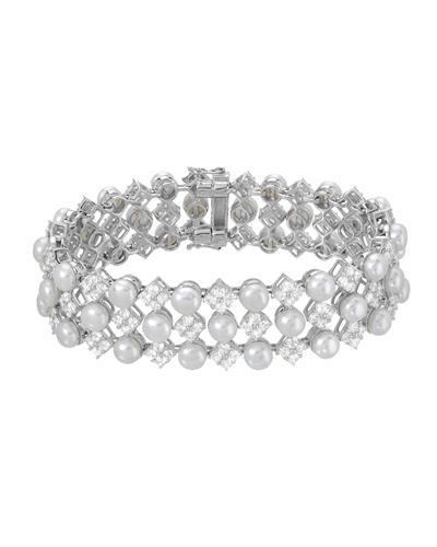 Millana Brand New Bracelet with 0ctw of Precious Stones - cubic zirconia and pearl 925 Silver sterling silver