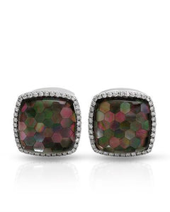 Brand New Cuff Links with 0.7ctw of Precious Stones - diamond and mother of pearl 18K White gold