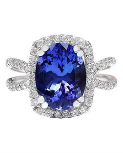 5.11 Carat Natural Tanzanite 14K Solid White Gold Diamond Ring