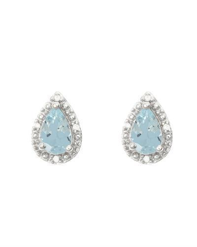 Brand New Earring with 0.72ctw of Precious Stones - aquamarine and diamond 925 Silver sterling silver