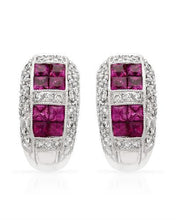 Load image into Gallery viewer, Brand New Earring with 2.1ctw of Precious Stones - diamond and ruby 18K White gold