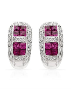 Brand New Earring with 2.1ctw of Precious Stones - diamond and ruby 18K White gold