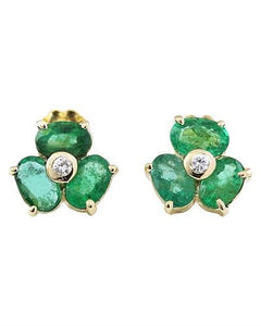2.90 Carat Natural Emerald 14K Solid Yellow Gold Diamond Stud Earrings