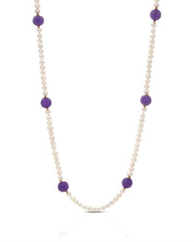 PEARL LUSTRE Brand New Necklace with 0ctw of Precious Stones - jade and pearl 14K Yellow gold