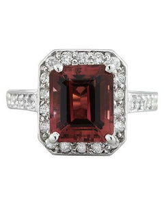 4.45 Carat Tourmaline 14K White Gold Diamond ring