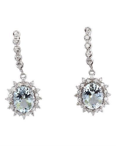 7.30 Carat Natural Aquamarine 14K Solid White Gold Diamond Earrings