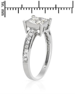 Brand New Ring with 0.8ctw of Precious Stones - diamond and diamond 18K White gold
