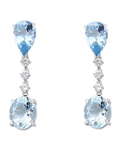 14.01 Carat Natural Aquamarine 14K Solid White Gold Diamond Earrings