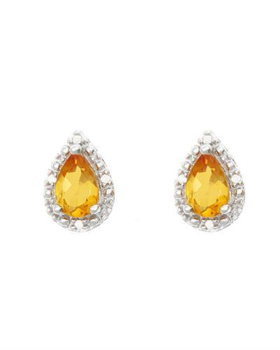 Brand New Earring with 0.72ctw of Precious Stones - citrine and diamond 925 Silver sterling silver