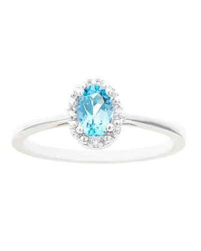 Brand New Ring with 0.58ctw of Precious Stones - diamond and topaz 925 Silver sterling silver