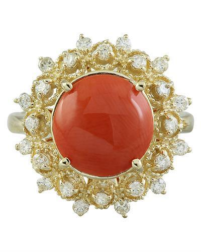 3.10 Carat Coral 14K Yellow Gold Diamond Ring