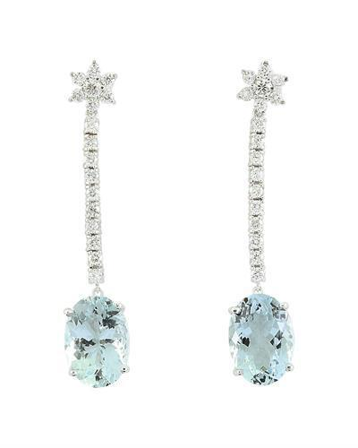 12.09 Carat Aquamarine 14K White Gold Diamond Earrings