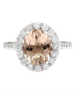 3.94 Carat Natural Morganite 14K Solid White Gold Diamond Ring